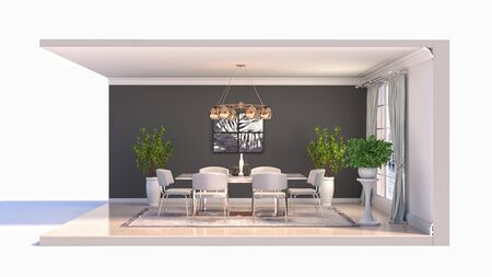 Comedor interior. Ilustración 3D. Foto de archivo
