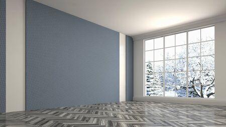 Empty interior with window. 3d illustration. Archivio Fotografico