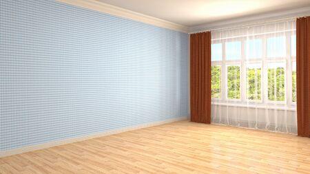 Empty interior with window. 3d illustration. Фото со стока - 130141878