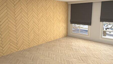 Empty interior with window. 3d illustration. Фото со стока - 130141890