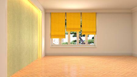 Empty interior with window. 3d illustration. Фото со стока - 130141896