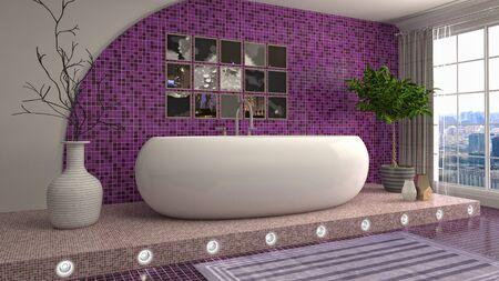 Bathroom interior. 3D illustration. Bath. Фото со стока