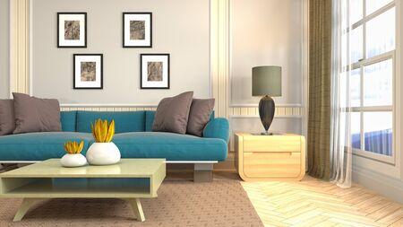 Interior of the living room. 3D illustration. Фото со стока - 130142451