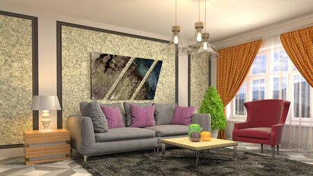 Interior of the living room. 3D illustration. Фото со стока - 130142452
