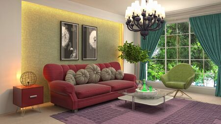 Interior of the living room. 3D illustration. Фото со стока - 130142552