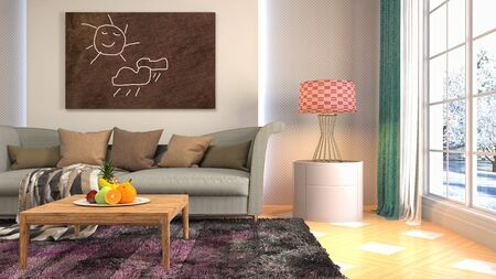 Interior of the living room. 3D illustration. Фото со стока - 130142564