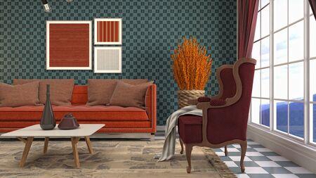 Interior of the living room. 3D illustration. Фото со стока - 130142567