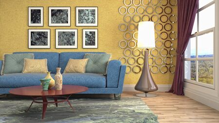 Interior of the living room. 3D illustration. Фото со стока - 130142573
