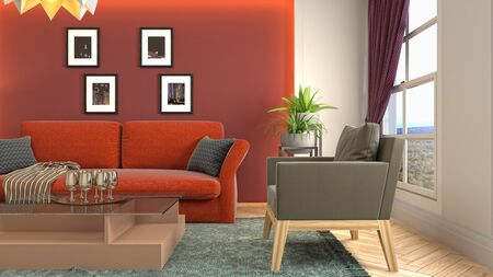 Interior of the living room. 3D illustration. Фото со стока - 130142575