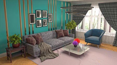 Interior of the living room. 3D illustration. Фото со стока - 130142616