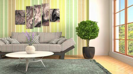 Interior of the living room. 3D illustration. Фото со стока - 130142622