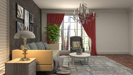 Interior of the living room. 3D illustration. Фото со стока - 130142626
