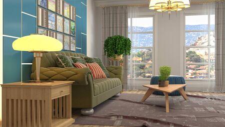 Interior of the living room. 3D illustration. Фото со стока - 130142650