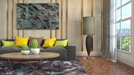 Interior of the living room. 3D illustration. Фото со стока - 130142658