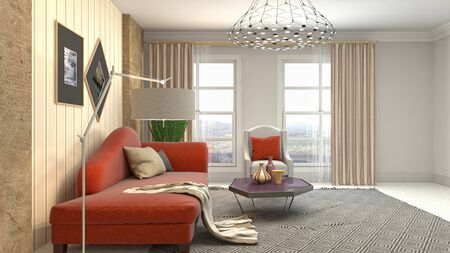 Interior of the living room. 3D illustration. Фото со стока - 130142673