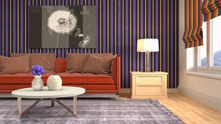 Interior of the living room. 3D illustration. Фото со стока - 130142674