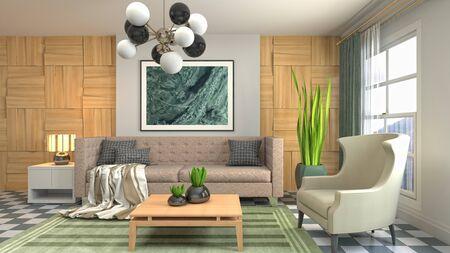 Interior of the living room. 3D illustration. Фото со стока - 130142675