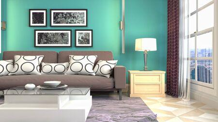 Interior of the living room. 3D illustration. Фото со стока - 130142676
