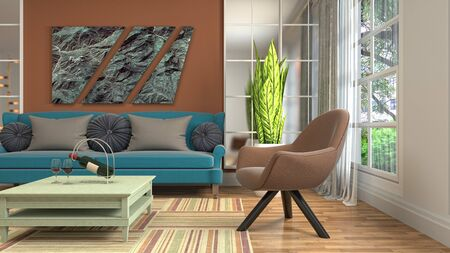 Interior of the living room. 3D illustration. Фото со стока - 130142677