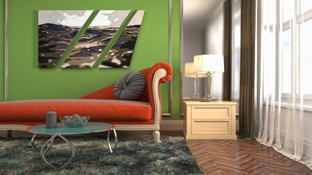Interior of the living room. 3D illustration. Фото со стока - 130142678