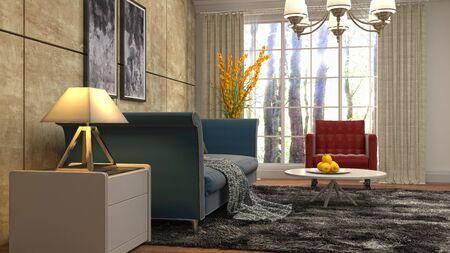 Interior of the living room. 3D illustration. Фото со стока - 130142679