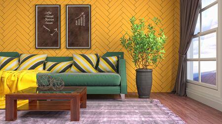 Interior of the living room. 3D illustration. Фото со стока - 130142680