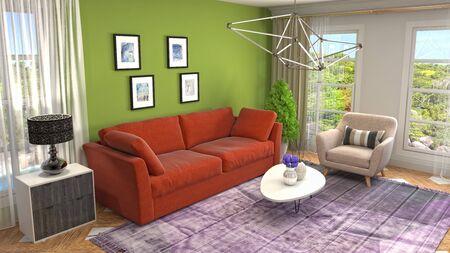 Interior of the living room. 3D illustration. Фото со стока - 130142681