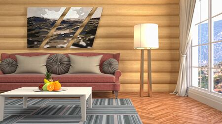 Interior of the living room. 3D illustration. Фото со стока - 130142682