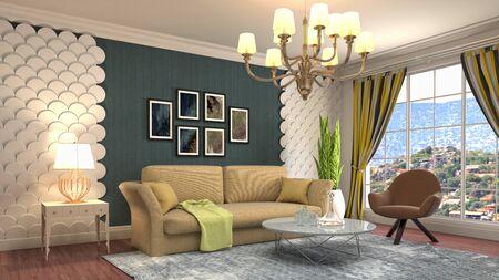 Interior of the living room. 3D illustration. Фото со стока - 130142683