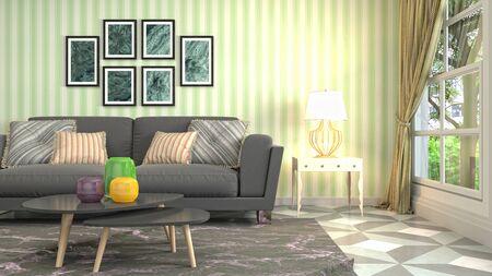Interior of the living room. 3D illustration. Фото со стока - 130142686