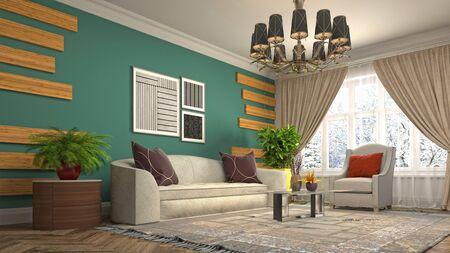 Interior of the living room. 3D illustration. Фото со стока - 130142689