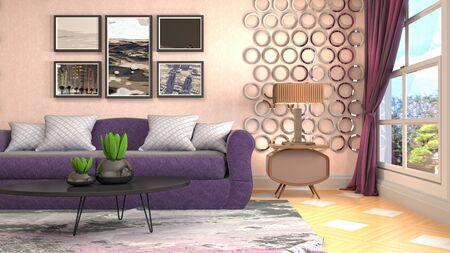 Interior of the living room. 3D illustration. Фото со стока - 130142690