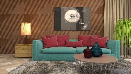 Interior of the living room. 3D illustration. Фото со стока - 130142691