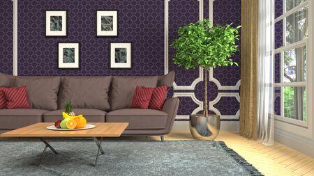 Interior of the living room. 3D illustration. Фото со стока - 130142693