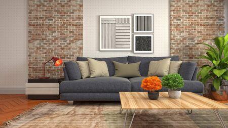 Interior of the living room. 3D illustration. Фото со стока - 130142827