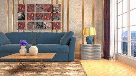 Interior of the living room. 3D illustration. Фото со стока - 130142832