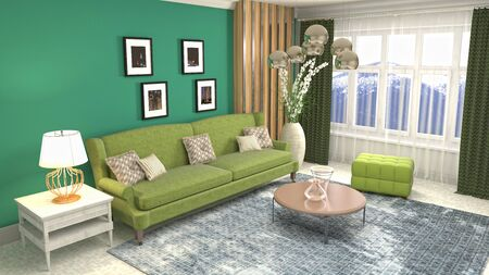 Interior of the living room. 3D illustration. Фото со стока - 130142835