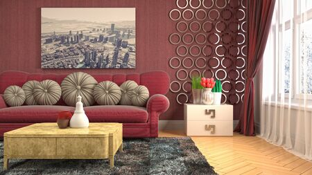 Interior of the living room. 3D illustration. Фото со стока - 130142841
