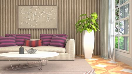 Interior of the living room. 3D illustration. Фото со стока - 130142857