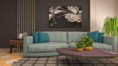 Interior of the living room. 3D illustration. Фото со стока - 130142862