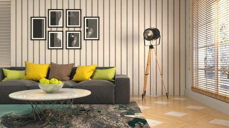 Interior of the living room. 3D illustration. Фото со стока - 130142888