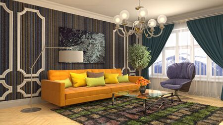 Interior of the living room. 3D illustration. Фото со стока - 130142890
