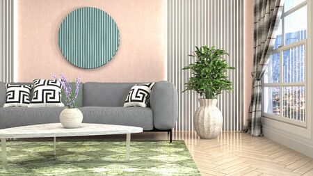Interior of the living room. 3D illustration. Фото со стока - 130142891