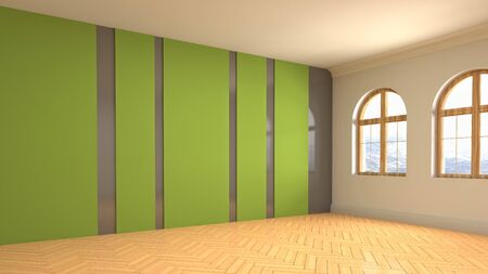 Empty interior with window. 3d illustration. Stock Illustration - 132095504