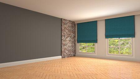 Empty interior with window. 3d illustration. Stock Illustration - 132095479