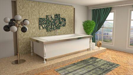 Bathroom interior. 3D illustration. Bath. 写真素材