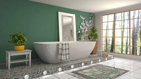 Bathroom interior. 3D illustration. Bath. Stock Photo