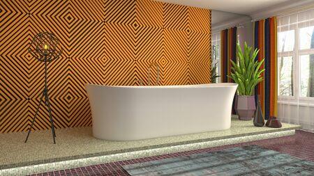 Bathroom interior. 3D illustration. Bath. Stok Fotoğraf
