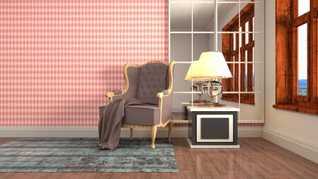 interior with chair. 3d illustration. 写真素材 - 131732912