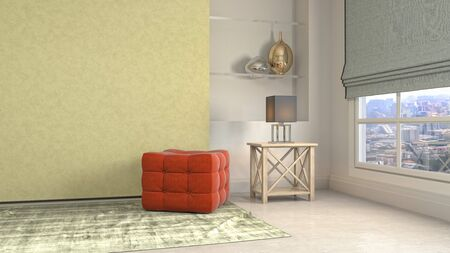 interior with chair. 3d illustration. 写真素材 - 131732986